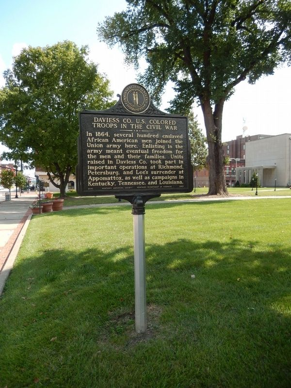 Daviess CO. U.S. Colored Troops in the Civil War Marker (<i>tall view</i>) image. Click for full size.
