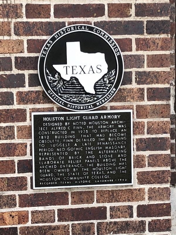 Houston Light Guard Armory Marker image. Click for full size.