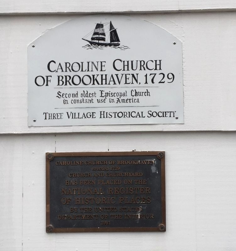 Caroline Church of Brookhaven, 1729 Marker and NRHP plaque image. Click for full size.