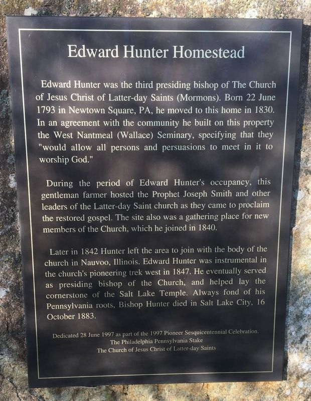 Edward Hunter Homestead Marker image. Click for full size.