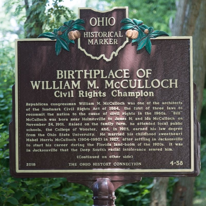 Birthplace of William M. McCulloch Marker, Side One image. Click for full size.