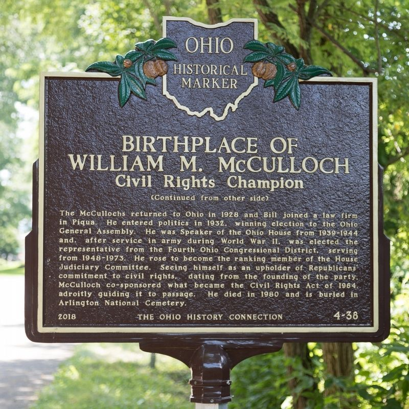 Birthplace of William M. McCulloch Marker, Side Two image. Click for full size.