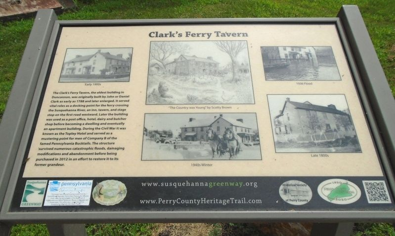 Clark's Ferry Tavern Marker image. Click for full size.