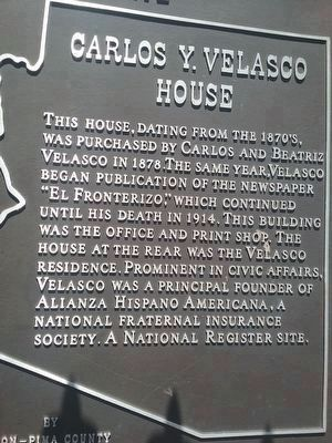 Carlos Ygnacio Velasco House Marker image. Click for full size.