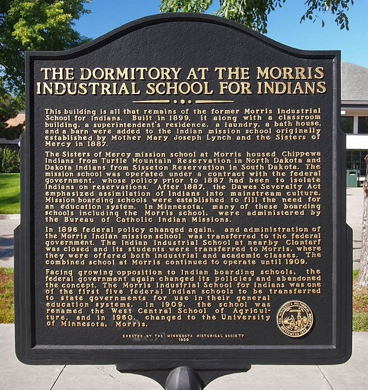 The Dormitory at the Morris Industrial School for Indians marker image. Click for full size.
