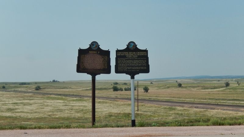 Cheyenne River Crossing Marker (<i>wide view; this marker on right; related marker on left</i>) image, Touch for more information