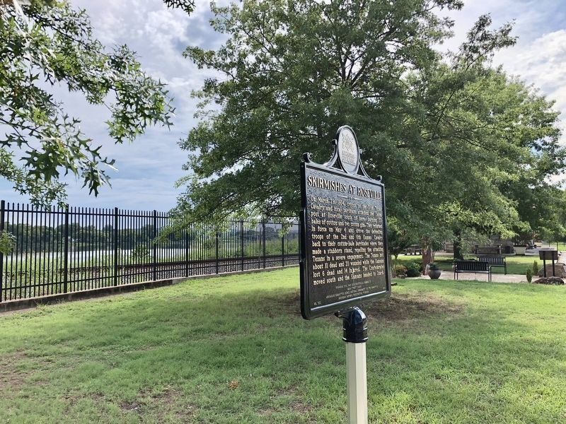 Marker with Arkansas River & the former Ozark Train Depot in background. image. Click for full size.