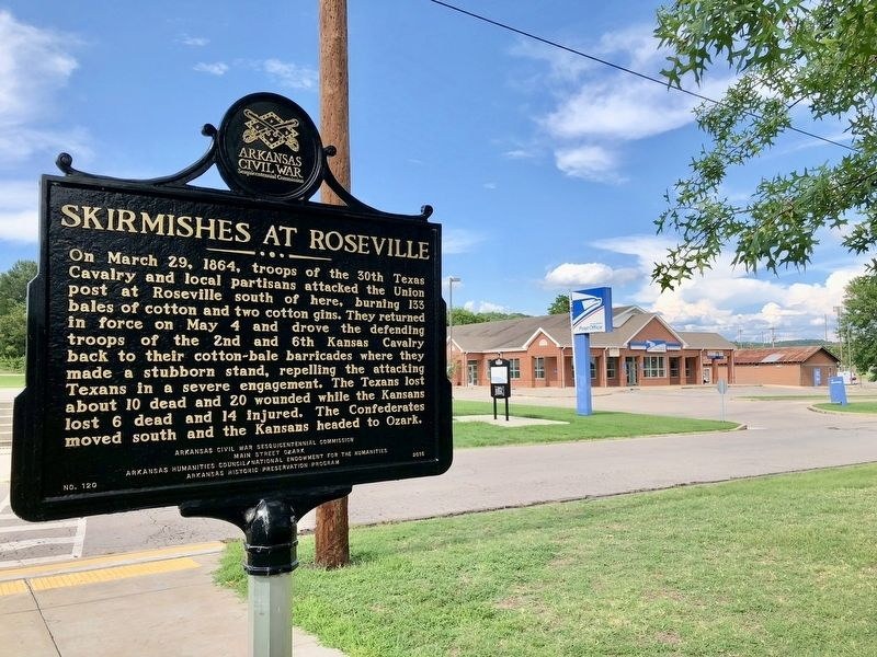Skirmishes at Roseville Marker across from U.S. Post Office. image. Click for full size.