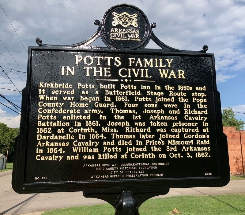 Potts Family in the Civil War Marker image. Click for full size.