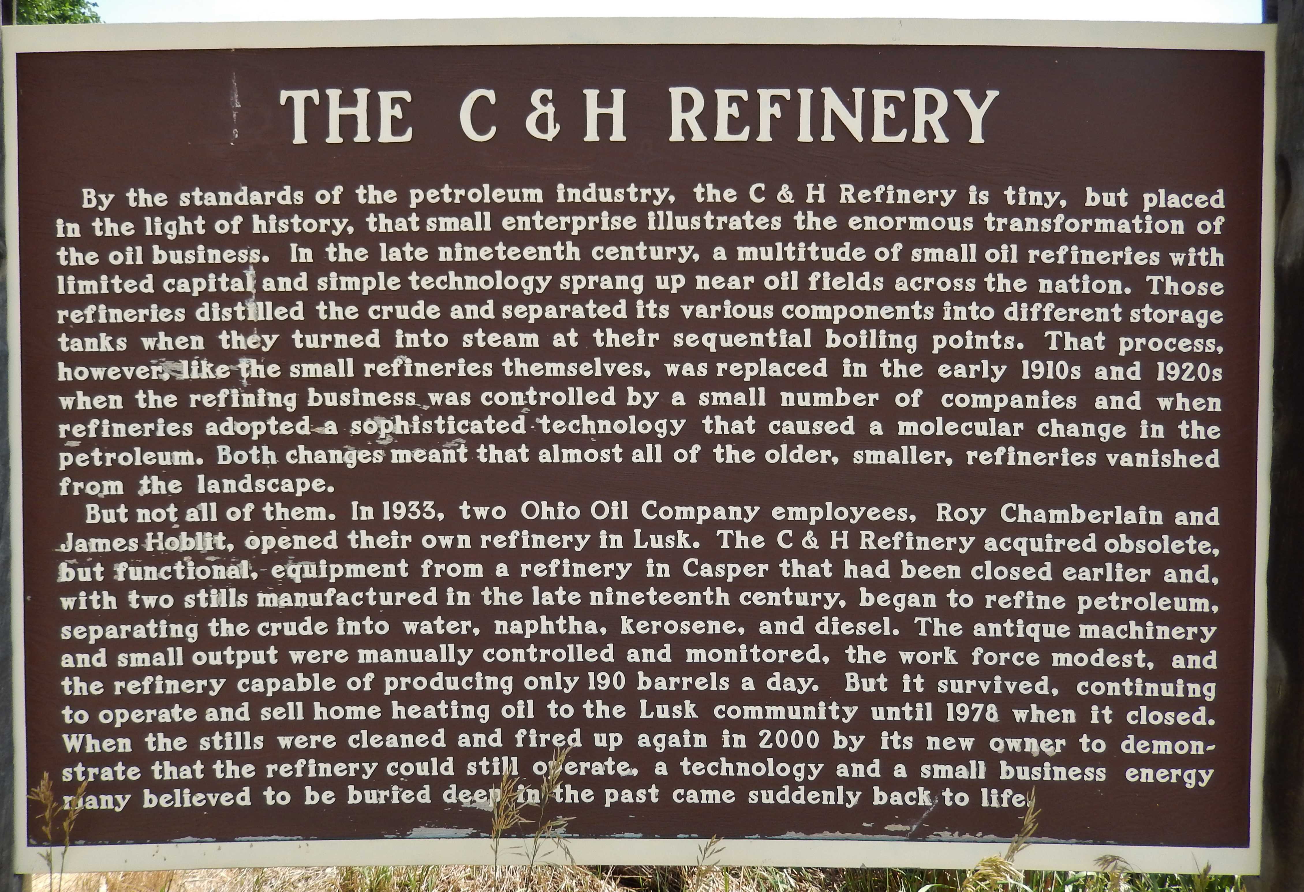 The C & H Refinery Marker