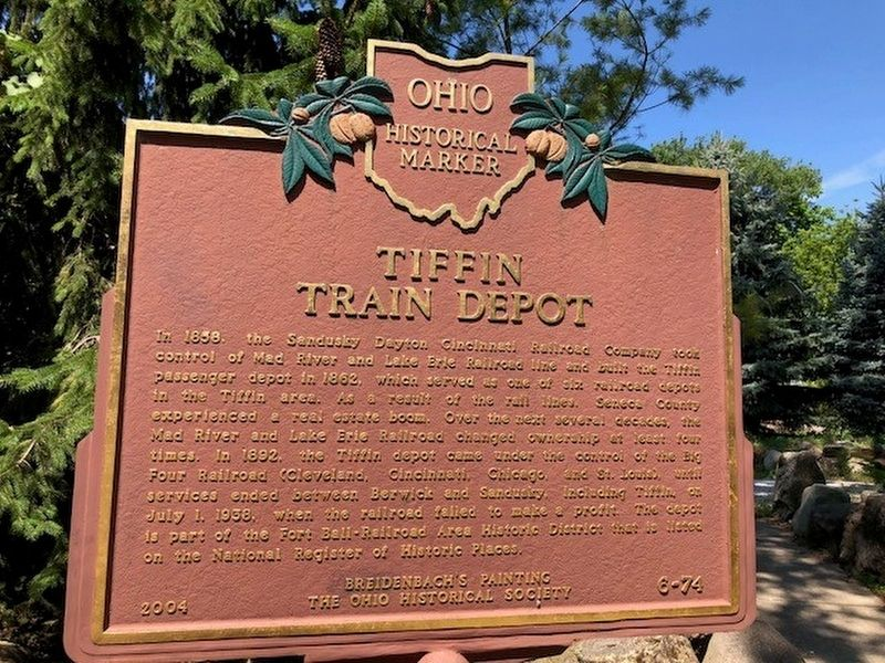Tiffin Train Depot / Mad River and Lake Erie Railroad Marker image. Click for full size.