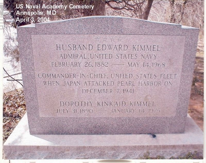 Admiral Husband Edward Kimmel Grave Marker image. Click for full size.