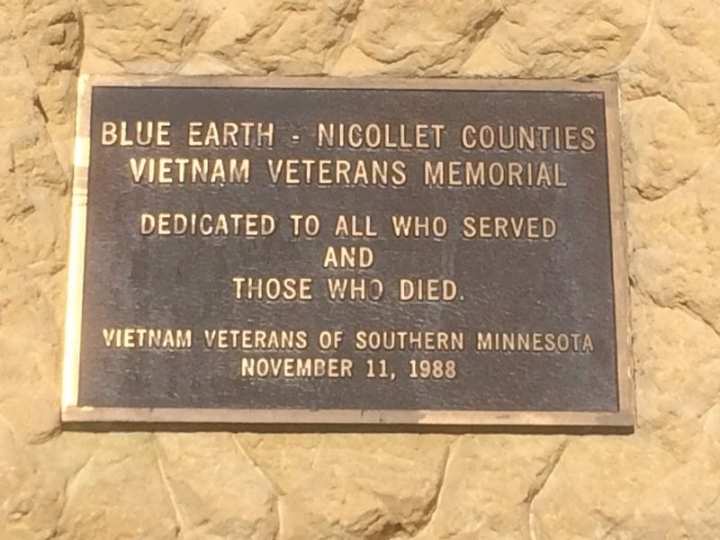 Blue Earth - Nicollet Counties Vietnam Veterans Memorial Marker image. Click for full size.