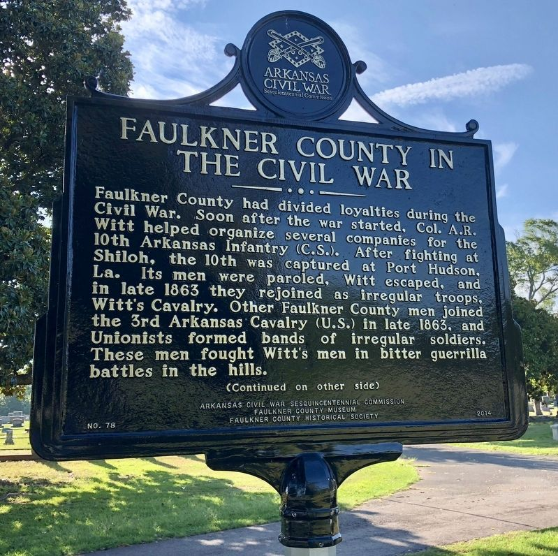 Faulkner County in the Civil War Marker (front) image. Click for full size.