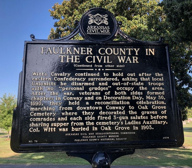 Faulkner County in the Civil War Marker (rear) image. Click for full size.