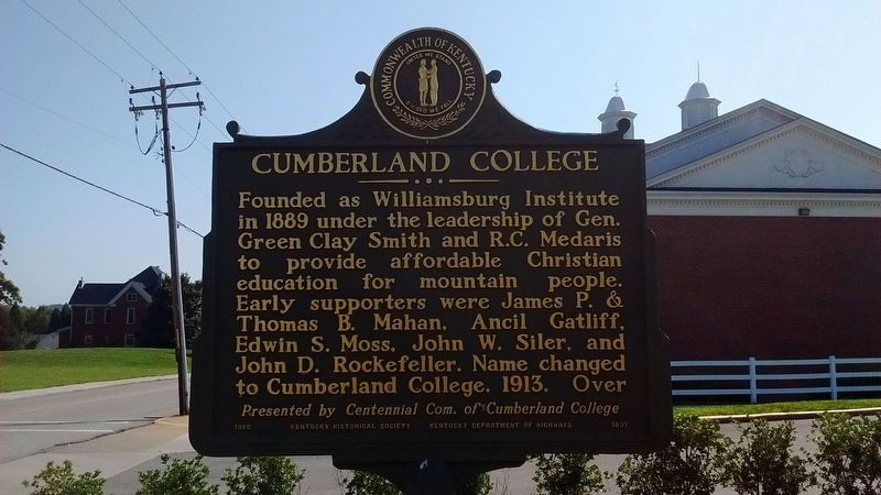 Cumberland College Marker (Side 1) image. Click for full size.