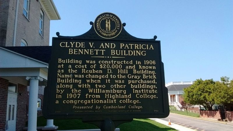 Clyde V. and Patricia Bennett Building Marker (Side 1) image. Click for full size.