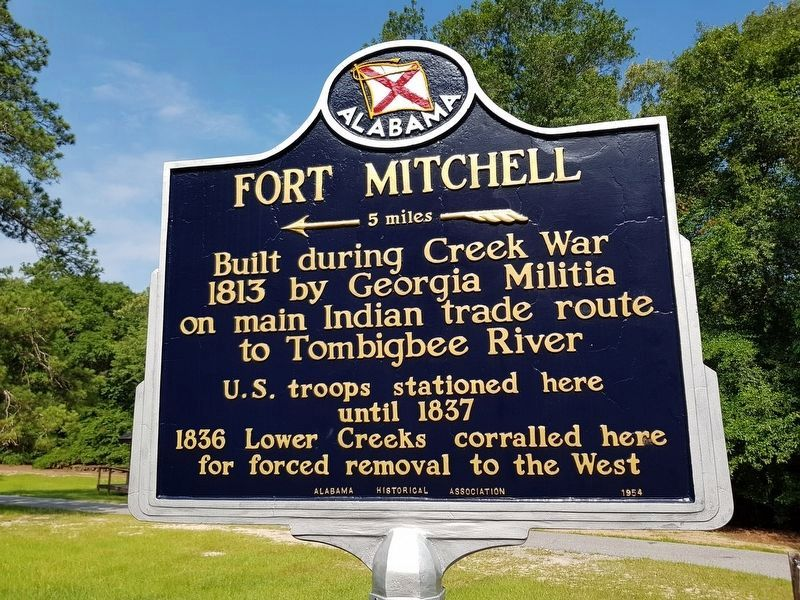 Fort Mitchell Marker, recently restored image. Click for full size.