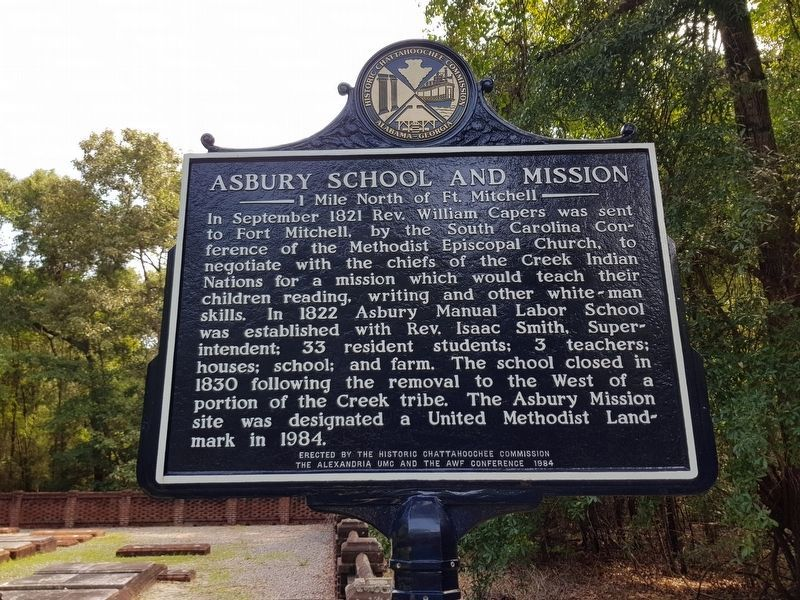 Asbury School and Mission Marker, recently restored image. Click for full size.