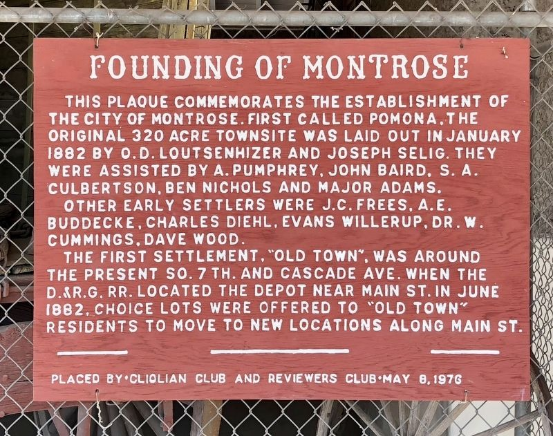 Founding of Montrose Marker image. Click for full size.
