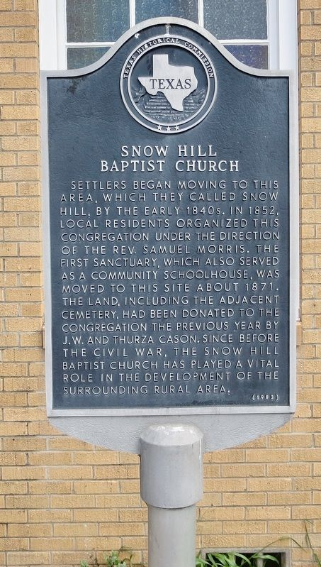 Snow Hill Baptist Church Marker image. Click for full size.