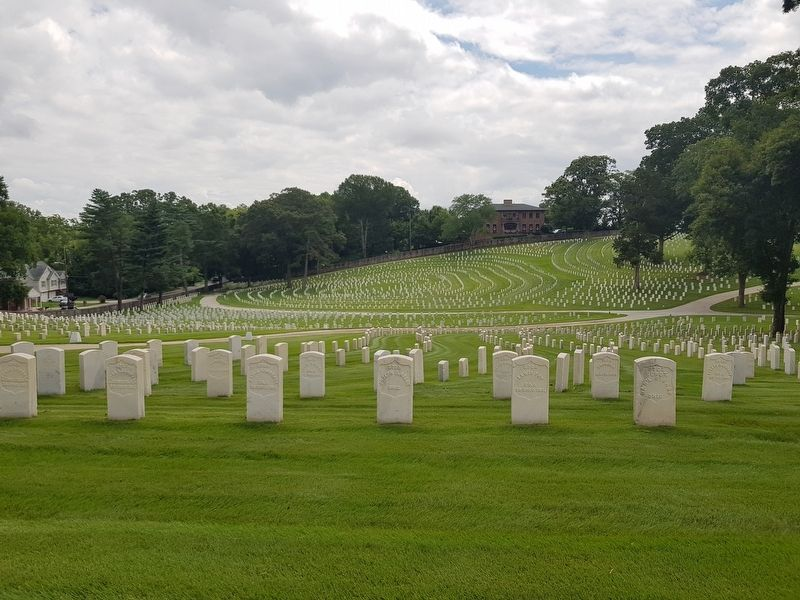 A view of a portion of the Marietta National Cemetery from near the Cole Section image. Click for full size.
