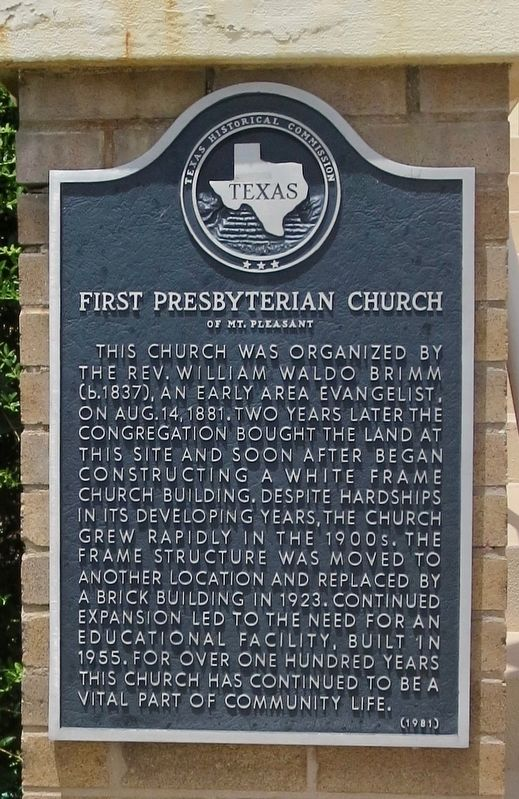 First Presbyterian Church of Mt. Pleasant Marker image. Click for full size.