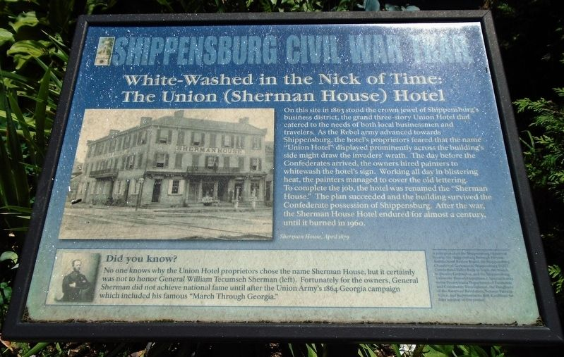 White-Washed in the Nick of Time: The Union (Sherman House) Hotel Marker image. Click for full size.