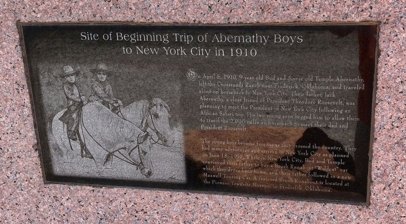 Site of Beginning Trip of Abernathy Boys to New York City in 1910 Marker image. Click for full size.