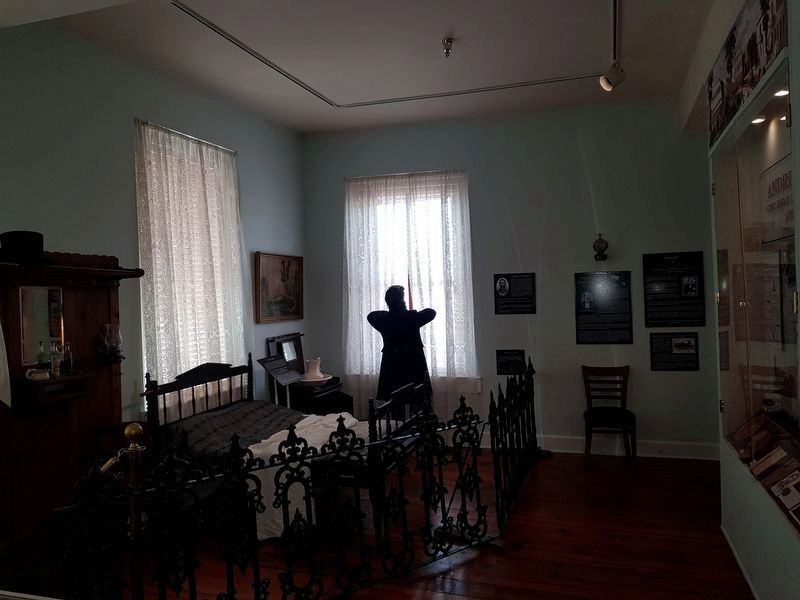 An exhibit on James J. Andrews and his Raiders at the Kennesaw House image. Click for full size.