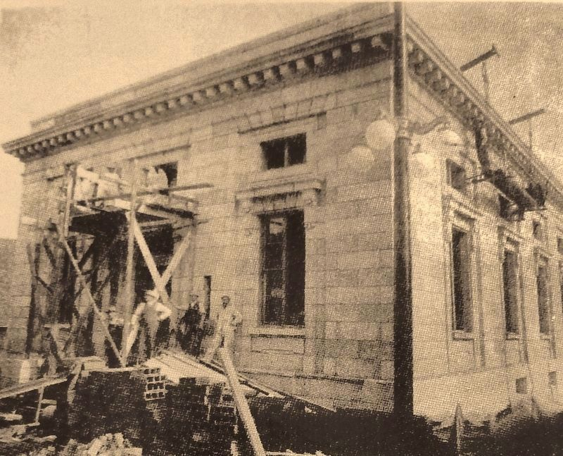 Marker detail: Construction work in progress. July 21, 1912 image. Click for full size.