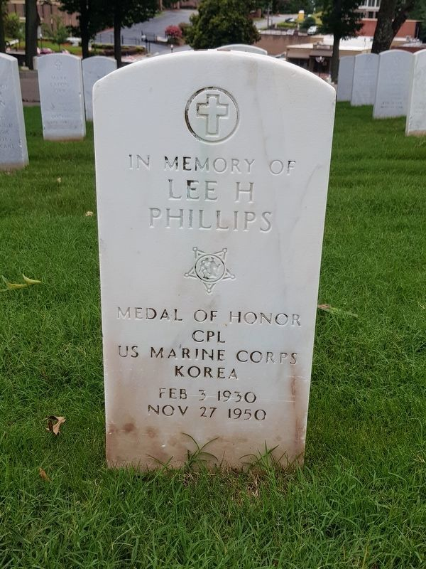 A nearby memorial to Lee H. Phillips, Medal of Honor recipient from the Korean War image. Click for full size.