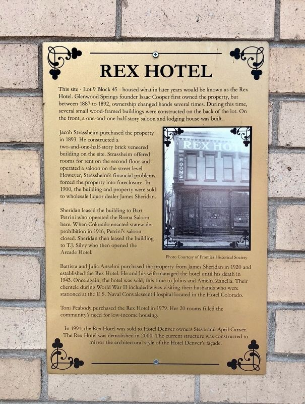 Rex Hotel Marker image. Click for full size.