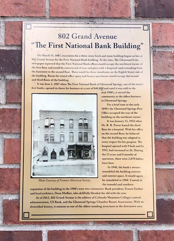 """The First National Bank Building"" Marker image. Click for full size."