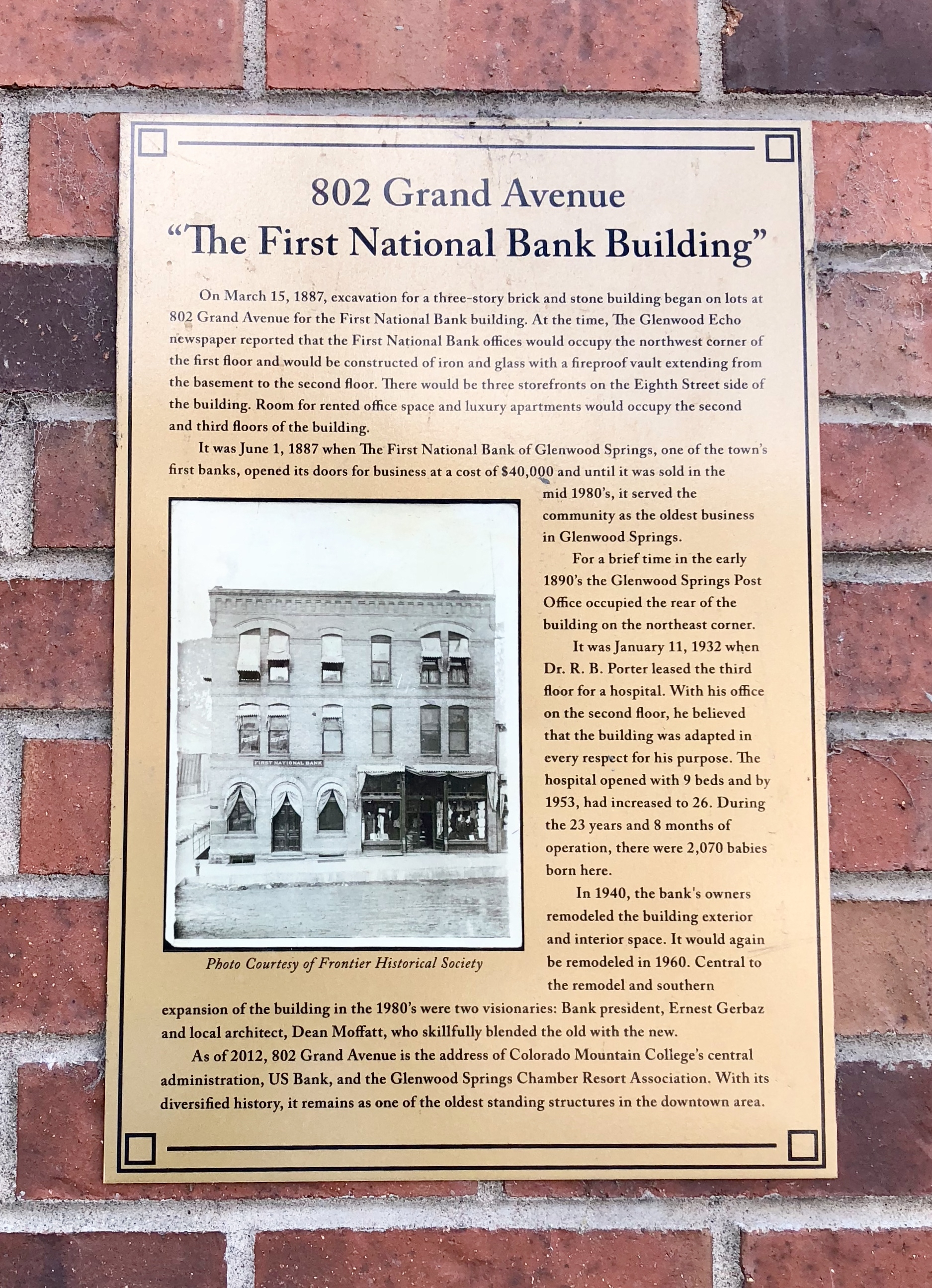 """The First National Bank Building"" Marker"