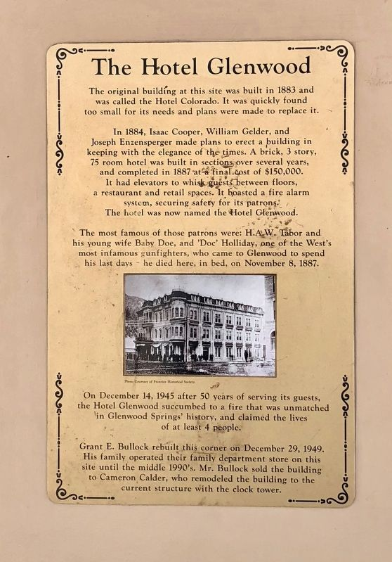 The Hotel Glenwood Marker image. Click for full size.