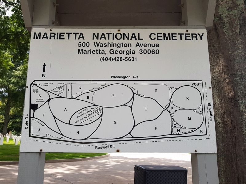 A nearby map of the Marietta National Cemetery image. Click for full size.