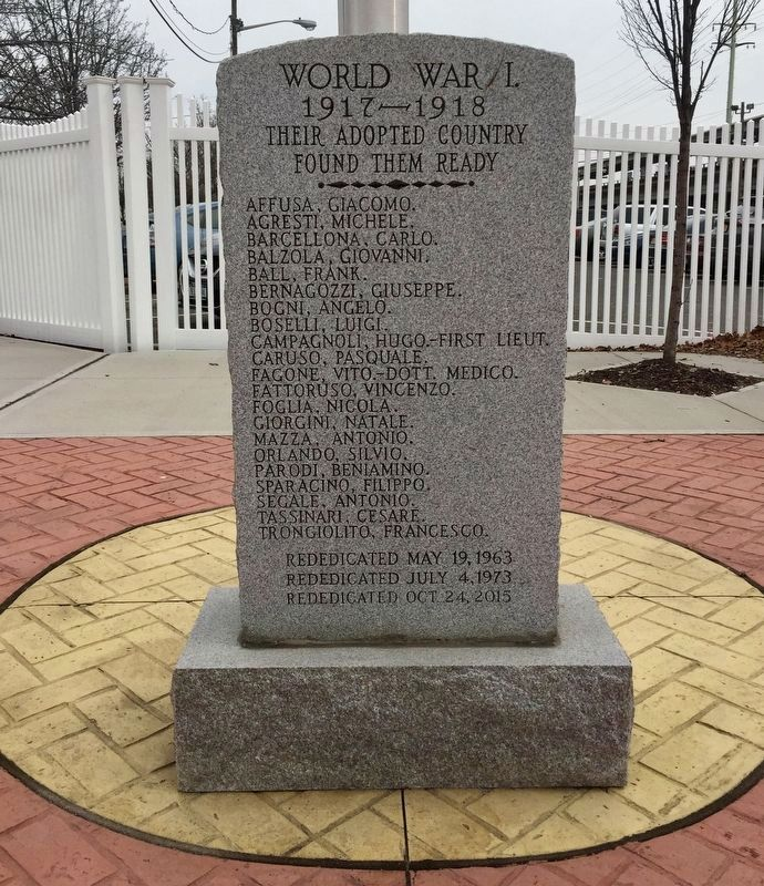 Copiague World War I Immigrant Memorial - Post 2015 rededication image. Click for full size.