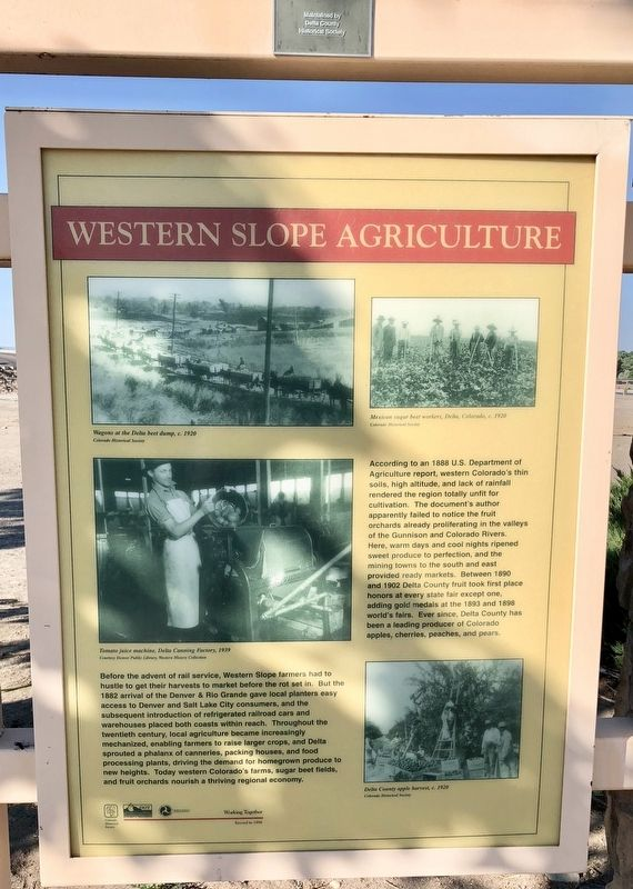 Western Slope Agriculture Marker image. Click for full size.