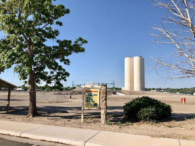 View of marker looking southerly towards intersection of Palmer Street & Confluence Drive. image. Click for full size.