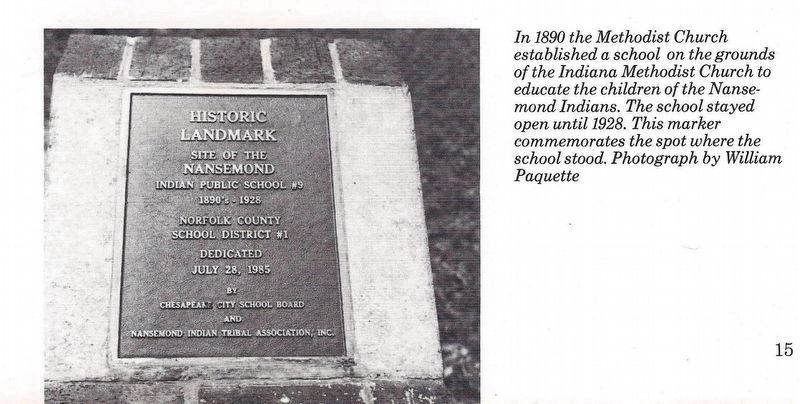 Exhibit B: Nansemond Indian Public School #9 marker. image. Click for full size.