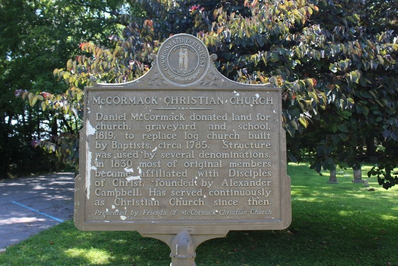 McCormack Christian Church Marker (Side 1) image. Click for full size.