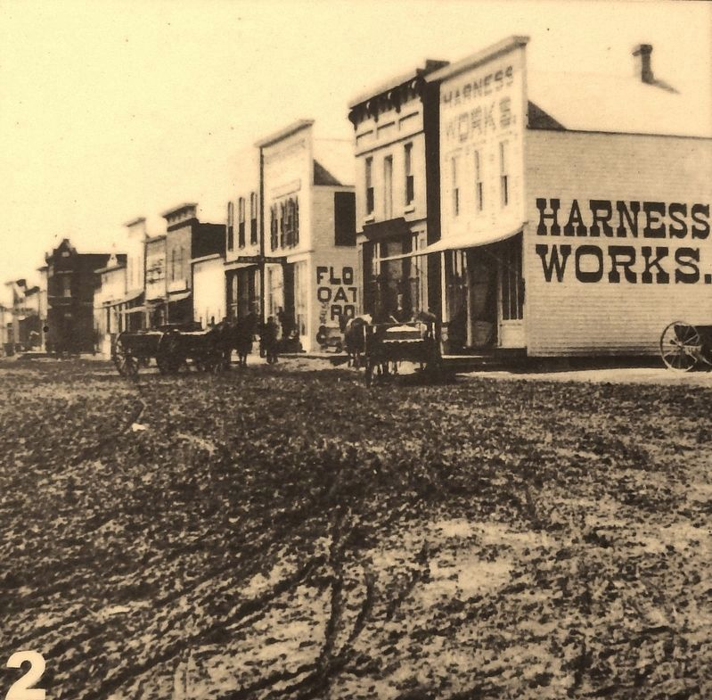 Marker photo 2: West side of Broadway (Oak Street) looking south in 1879 image. Click for full size.
