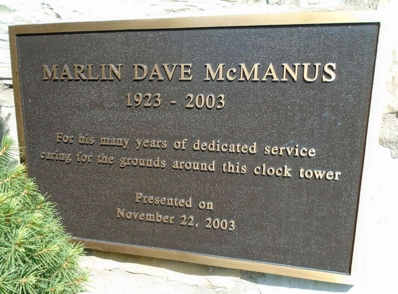 Cumberland County Veterans Memorial Clock Tower Supporter Marker - McManus image. Click for full size.