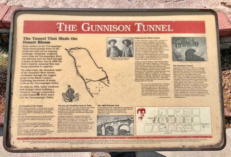 The Gunnison Tunnel Marker image. Click for full size.