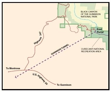 Gunnison Tunnel Map image. Click for full size.