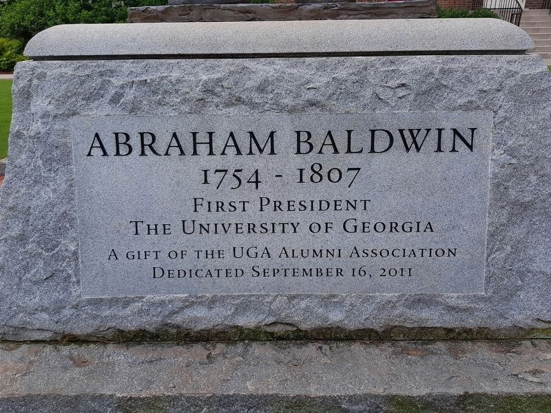 Inscription on Abraham Baldwin statue nearby image. Click for full size.