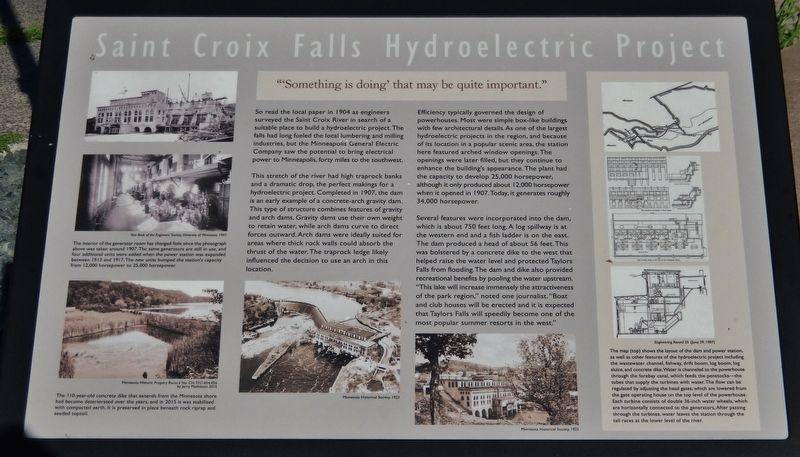 Saint Croix Falls Hydroelectric Project Marker image. Click for full size.
