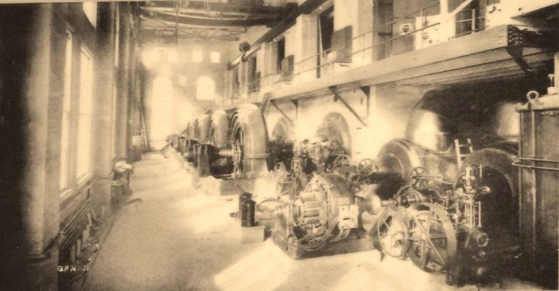 Marker detail: Generator room, c. 1907 image. Click for full size.