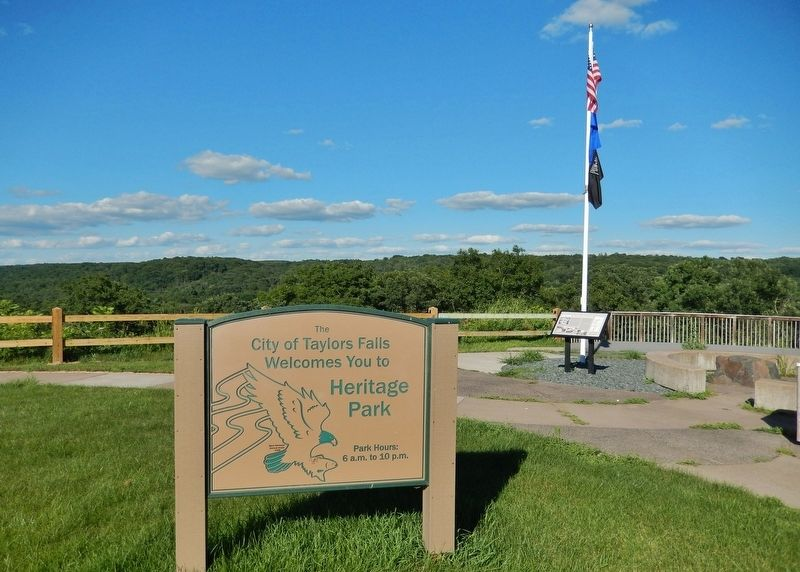 Taylors Falls Heritage Park Sign & Hydroelectric Project Marker (<i>view from parking lot</i>) image. Click for full size.